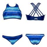 Kobiety ` s dwuczęściowy błękitny Swimwear odizolowywający na białym tle Przód i tylny boczny widok zdjęcie stock