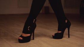 Kobiety ` s iść na piechotę w czarnych pończochach i stipper buty tanczący ruszają się podczas gdy zbiory wideo