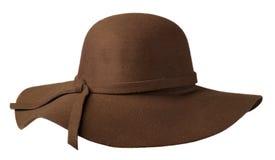 Kobiety ` s kapelusz czuł odosobnionego na białym tle moda kapeluszu fel obraz stock