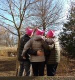 Kobiety ` s Marzec, Różowi kapelusze, NYC, NY, usa Obraz Stock