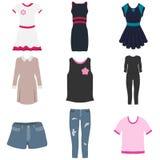Kobiety ` s odzież, set kobiety ` s odzież Suknia, bluzka, kurtka, skróty, spodnia ilustracji