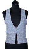 Kobiety ` s odzież - sleeveless pulower Trykotowa kamizelka odizolowywająca na białym tle obrazy royalty free