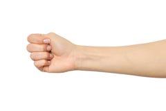 Kobiety ` s ręka z błędnym pięść gestem Obraz Stock