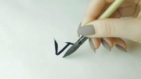 Kobiety ` s wręcza writing chińczyka hieroglif Żeńska ręka trzyma writing muśnięcia kaligrafii Chińskich charaktery, zamyka up Obraz Stock