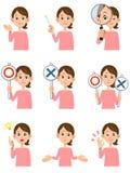 9 kobiety ` s wyrazów twarzy i gesty ilustracja wektor