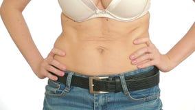 Kobiety sadła brzuch próżniowy masaż podbrzusze dziewczyna ciągnie żołądek zbiory
