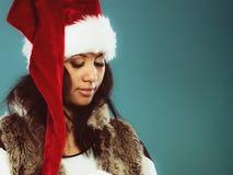Kobiety Santa pomagiera kapeluszu portret Zdjęcie Royalty Free