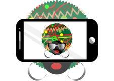 Kobiety selfie pojęcia wektorowy tło Modna czarna afro kobieta z okularami przeciwsłonecznymi bierze jaźń portret na mądrze telef ilustracja wektor