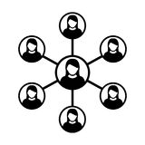 Kobiety sieci ikony symbolu Wektorowa grupa ludzi i praca zespołowa Związana Biznesowa osoba ilustracji