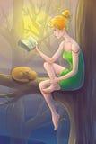 Kobiety siedzą w czytaniu i drzewie książka Zdjęcia Stock