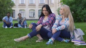 Kobiety siedzi na trawie, opowiada i ono uśmiecha się, faceci patrzeje dziewczyny, flirt zbiory wideo
