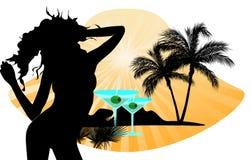 Kobiety silhouette z palmą Obraz Royalty Free