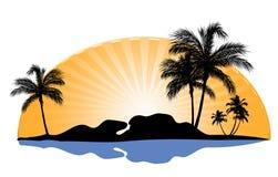 Kobiety silhouette z palmą Fotografia Stock