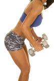 Kobiety sprawność fizyczna i staników ciężarów bocznego ciała chudy zwieramy Obraz Stock