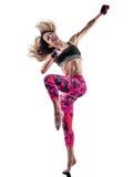 Kobiety sprawności fizycznej bokserscy pilates piloxing ćwiczenia odizolowywających Obrazy Royalty Free