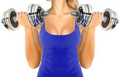 Kobiety sprawności fizycznej trening z Dumbbells Fotografia Royalty Free