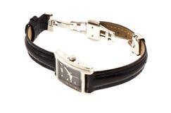 Kobiety srebra zegarek z czarnym paskiem Fotografia Royalty Free