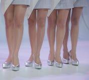 Kobiety stawiają dalej zaopatrywać i heeled but stoi na f fotografia royalty free