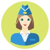 Kobiety stewardesy iconin płaski styl Wektorowy wizerunek na round barwionym tle Element projekt, interfejs wizerunek wewnątrz Obrazy Royalty Free