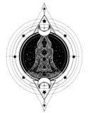 Kobiety sylwetki ozdobny obsiadanie w lotos pozie i Świętym Geometr ilustracja wektor
