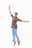 Kobiety szczęśliwy doskakiwanie Zdjęcia Stock
