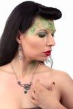Kobiety sztuki nouveau kolia i kolczyk Zdjęcia Royalty Free