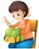 Kobiety szwalna koszula na krześle ilustracji