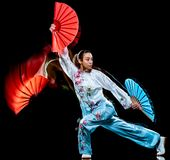 Kobiety Tai Chi Chuan Tadjiquan postury czerni t?a ?wiat?a obraz obraz stock