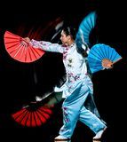 Kobiety Tai Chi Chuan Tadjiquan t?a ?wiat?a postura odizolowywaj?cy czarny obraz zdjęcia stock