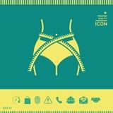 Kobiety talia z pomiarową taśmą, ciężar strata, dieta, talia - ikona Obrazy Royalty Free