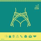 Kobiety talia z pomiarową taśmą, ciężar strata, dieta, talia - kreskowa ikona Obrazy Stock