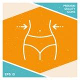 Kobiety talie, ciężar strata, dieta, talia - kreskowa ikona Zdjęcia Royalty Free