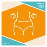 Kobiety talie, ciężar strata, dieta, talii kreskowa ikona Fotografia Stock