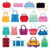 Kobiety torby wektorowe dziewczyny torebka, kiesa, torba na zakupy lub sprzęgło od moda sklepu ilustracyjnego miechowatego setu k ilustracja wektor