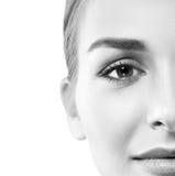 Kobiety twarz czarny i biały fotografia stock