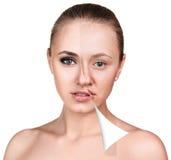 Kobiety twarz przed i po retuszem Obrazy Stock