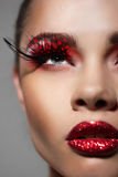 Kobiety twarz z Kreatywnie mody sztuką uzupełniał Zdjęcie Royalty Free