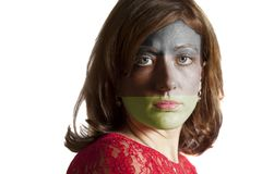 Kobiety twarz z malującą niemiec flaga fotografia stock