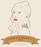 Kobiety twarz z przebijaniem i tatuaż modą Obraz Stock