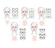 Kobiety twarzy okulary przeciwsłoneczni i typ Obrazy Stock