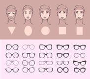 Kobiety twarzy okulary przeciwsłoneczni i typ Zdjęcia Stock