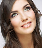 Kobiety twarzy zakończenie w górę piękno portreta Dziewczyna z długie włosy lookin Obrazy Royalty Free