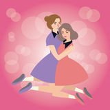 Kobiety uściśnięcie each inna przyjaźni dziewczyn solidarności przyjaciół afekcja royalty ilustracja