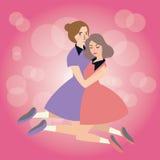 Kobiety uściśnięcie each inna przyjaźni dziewczyn solidarności przyjaciół afekcja Obraz Stock