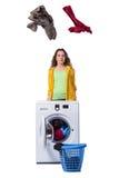 Kobiety uczucie sressed po robić brudnej pralni Fotografia Royalty Free
