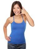Kobiety wezwanie ja telefonu ręki znak Zdjęcie Royalty Free