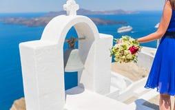 Kobiety withbouquet na wyspie Santorini Fotografia Stock