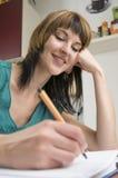 Kobiety writing list miłosny Obrazy Stock