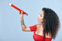 Kobiety writing na kopii przestrzeni Obrazy Royalty Free
