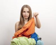 Kobiety wth pralnia fotografia stock